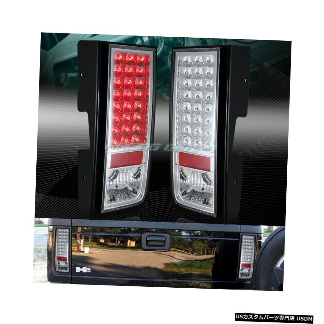 Tail light クロームハウジングクリアレンズLEDリアブレーキテールライトランプフィット03-09ハマーH2 CHROME HOUSING CLEAR LENS LED REAR BRAKE TAIL LIGHTS LAMPS FIT 03-09 HUMMER H2