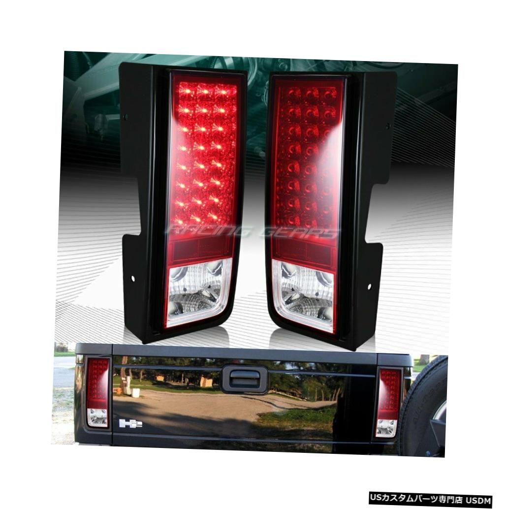 Tail light ハマーH2クロームハウジングレッド/クリアレンズLEDリアブレーキテールライトLH + RH FOR HUMMER H2 CHROME HOUSING RED/CLEAR LENS LED REAR BRAKE TAIL LIGHTS LH+RH