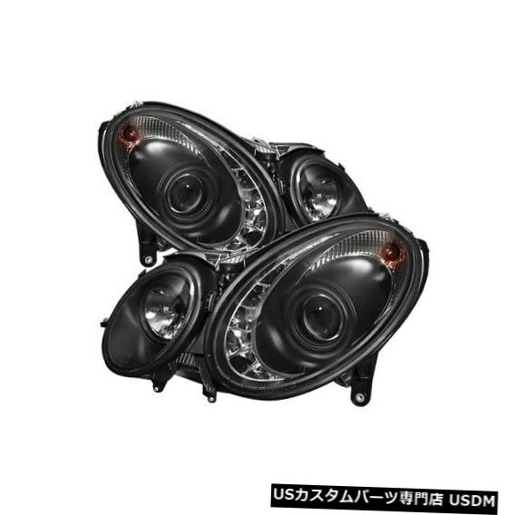 ヘッドライト スパイダー5029928 DRL LEDプロジェクターヘッドライトブラック06-06 MB E350 2個用NEW Spyder 5029928 DRL LED Projector Headlight Black For 06-06 MB E350 2pc NEW