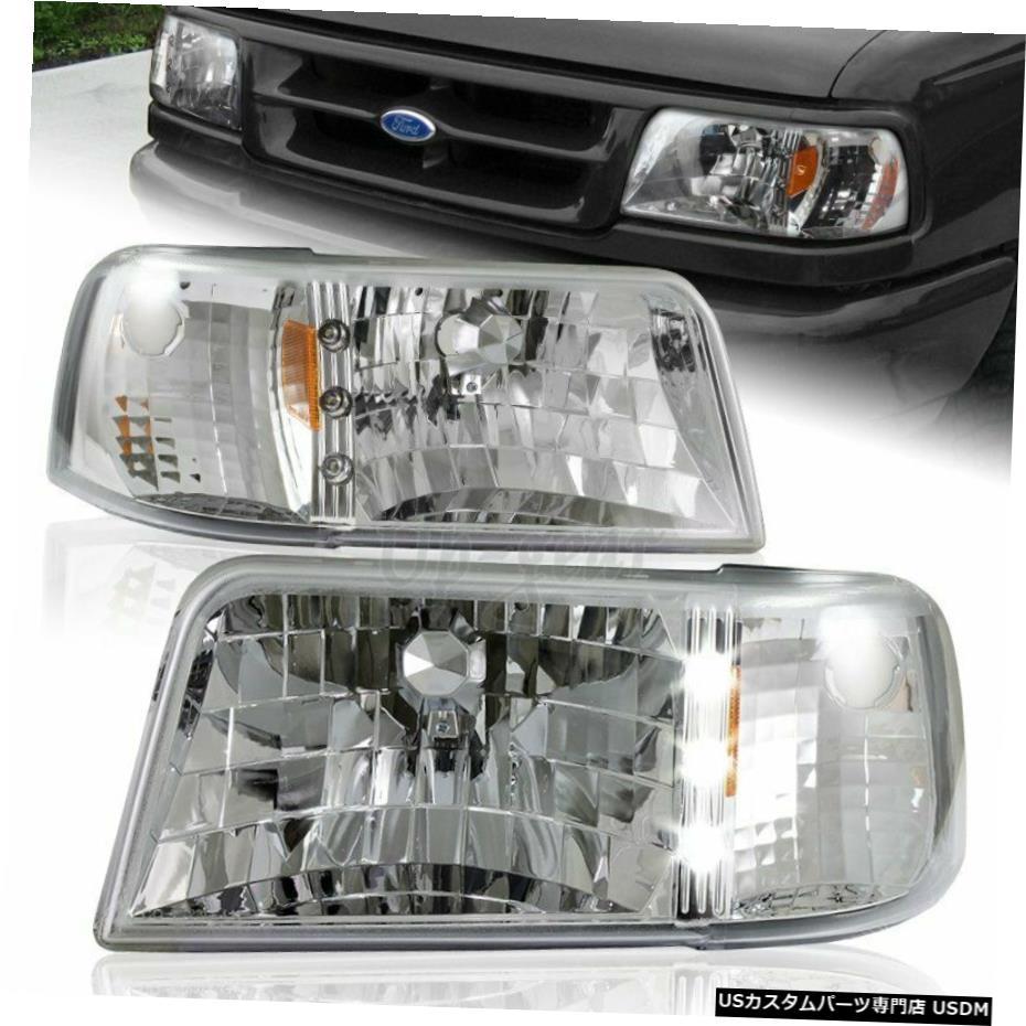 車用品 使い勝手の良い バイク用品 >> パーツ 外装 エアロパーツ その他 クロームメッキ 1993- 1997年のフォードレンジャーSTXXLクロームハウジングLEDヘッドライトアンバーリフレクター For Reflector Amber Ranger 1993-1997 ふるさと割 STX Chrome LED Headlights XL Ford Housing