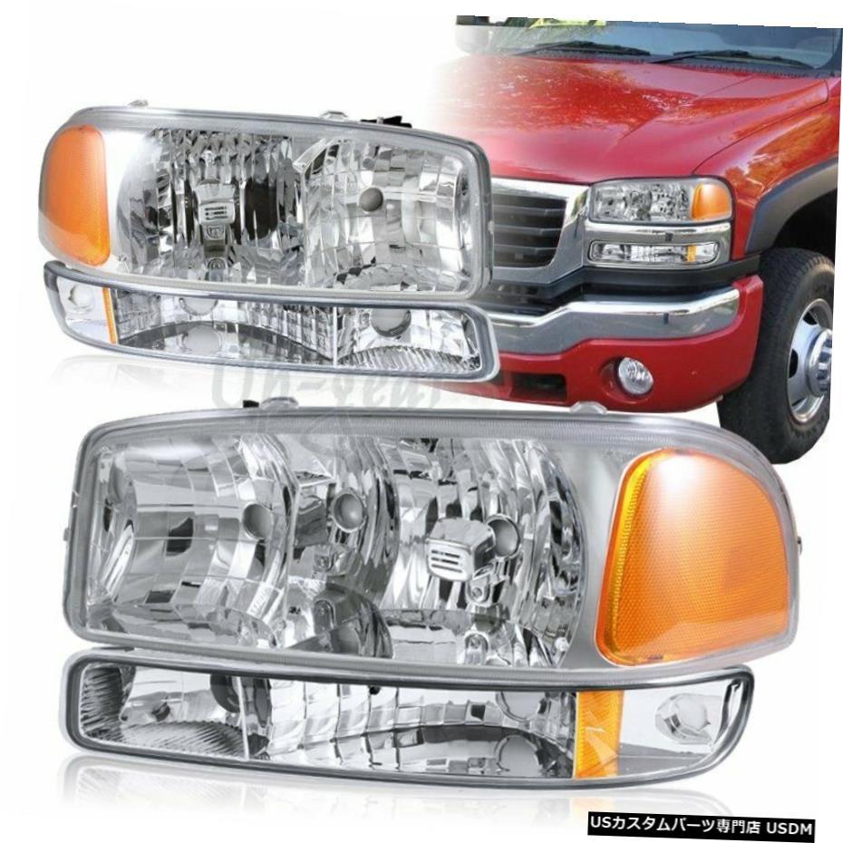車用品 バイク用品 >> パーツ 外装 エアロパーツ 在庫処分 その他 クロームメッキ 2000-2006GMCユーコンXL1500 2500クロームヘッドライト+バンパーシグナルランプ4-PCS For GMC 2020新作 Lamps Chrome 2500 1500 Yukon 2000-2006 XL 4-PCS Signal Headlights+Bumper