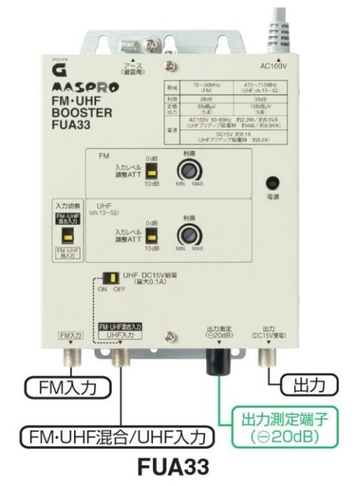 マスプロ 共同受信用 UHF・FMブースター FUA33