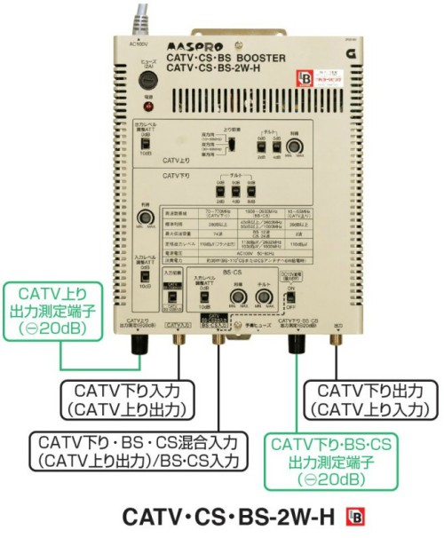 マスプロ BL型 CATV BS・CSブースター 40dB CATV・CS・BS-2W-H
