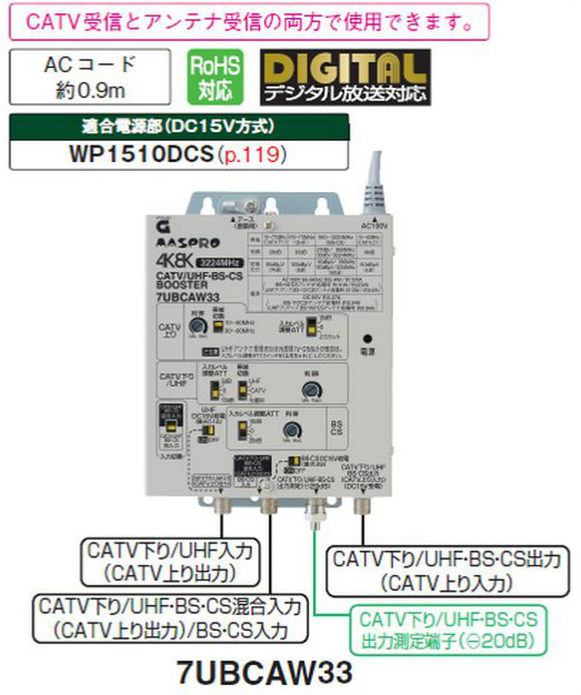 マスプロ 4K・8K対応 CATV/UHF BS・CSブースター 7UBCAW33