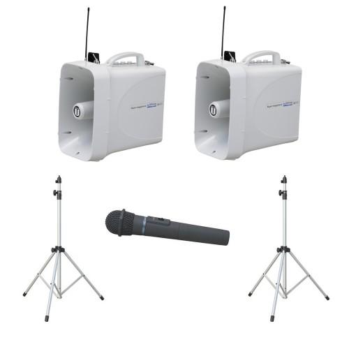 拡声器 60W PLL300MHz帯 選挙用スピーチセット(雨天対応) TWB-300×2 ST-110×2 WM-3400