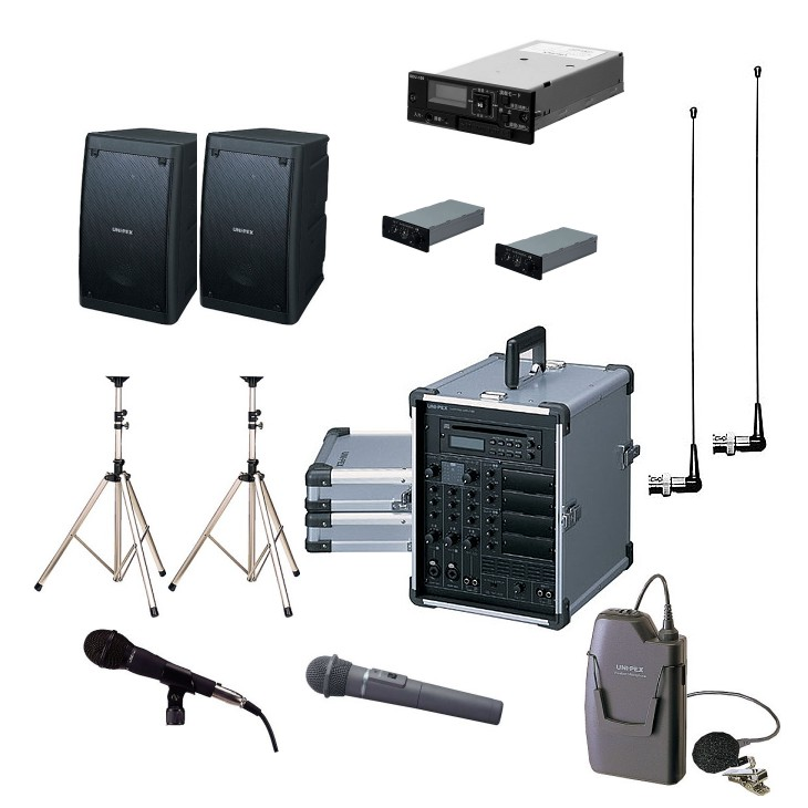拡声器 200W PLL800MHz帯 選挙用スピーチセット CGA-200DA DU-8200×2 AA-382×2 EWS-120×2 ST-25×2 MD-58 WM-8100A WM-8400 SDU-100