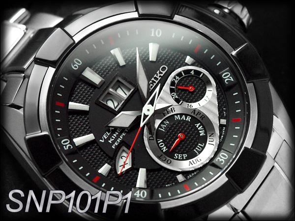 精工 velatura 动力学直接驱动男装看黑色银色表盘银色不锈钢带 SNP101P1 x