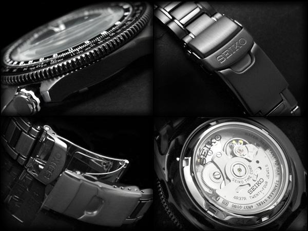 精工高级男装自动腕表黑色表盘 IP 黑色不锈钢带 SSA007K1