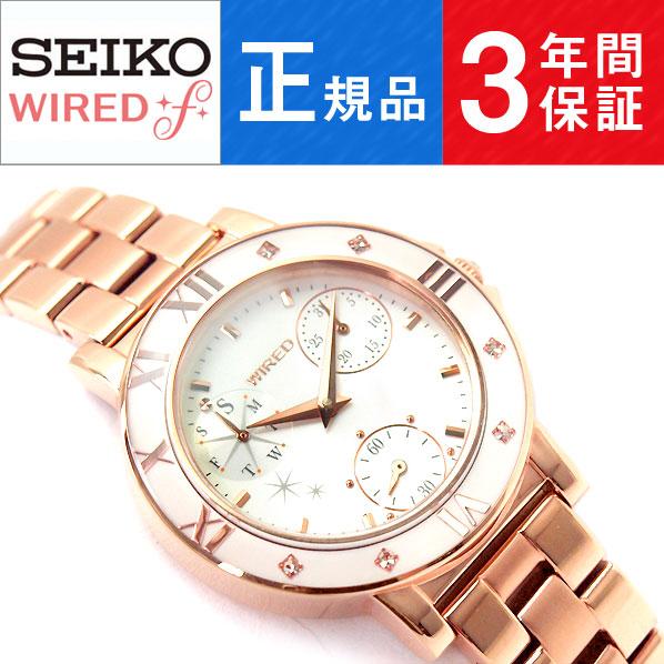 【SEIKO WIRED f】セイコー ワイアードエフ トーキョー ガール ミックス TOKYO GIRL MIX クオーツ レディース 腕時計 ホワイト ピンクゴールド AGET401
