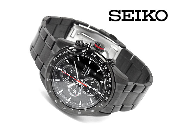精工标准精工标准男装计时手表黑色表盘不锈钢带 SNDG27P1