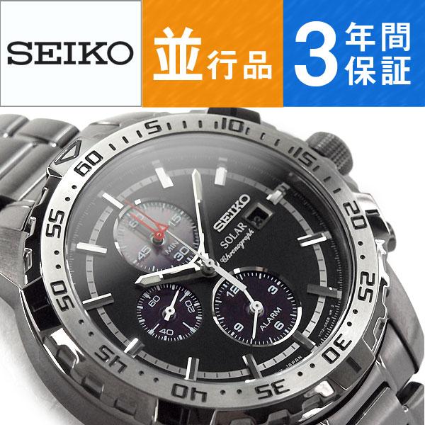 【逆輸入SEIKO】セイコー SEIKO ソーラー SOLAR クロノグラフ メンズ 腕時計 ブラックダイアル IPブラックステンレスベルト SSC301P1
