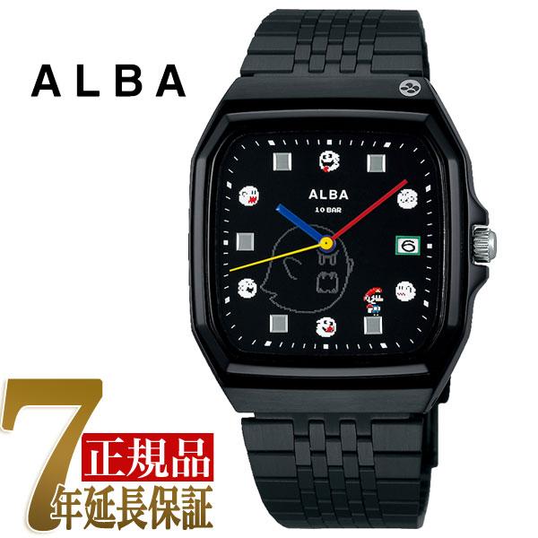 セイコー アルバ SEIKO ALBA クォーツ メンズ 腕時計 スーパーマリオコラボ スーパーファミコンマリオシリーズ ブラック ACCK426