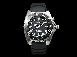 Seiko kinetic diver's watch black dial polyurethane belt SKA371P2