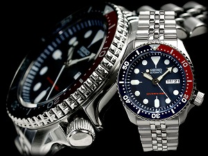 Seiko メンズサイズネイビー boy diver's automatic watch ペプシベゼル Navy dial stainless belt SKX009K2