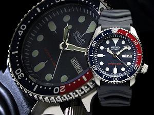 精工男孩海军潜水员手表男士大小自动绕线观看海军拨号 ペプシベゼル 聚氨酯金属皮带 SKX009K