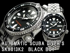 精工男孩尺寸黑人男孩潜水员自动手表黑色表盘不锈钢带 SKX013K2