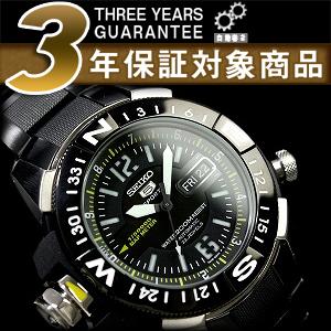 拧男子精工5地图测量仪器自动,并且是手表黑色拨盘IP黑色不锈钢皮带SKZ231K1upup7
