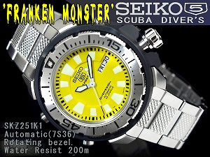 Seiko 5 sports メンズダイバーズ automatic self-winding wristwatch stainless steel belt SKZ251K1