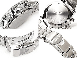 Seiko パイロットアラームクロノ-graph mens watch White Navy stainless steel SNA413P1