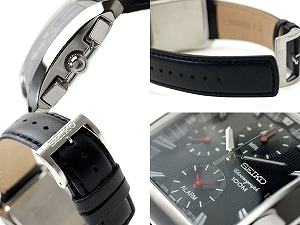 SEIKO foreign countries model alarm chronograph watch black dial black leather belt SNA773P1