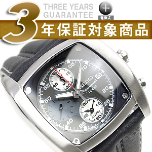 Seiko alarm chronograph men's watch matte bezel black dial black x ホワイトカーフ leather belt SNAB03P1