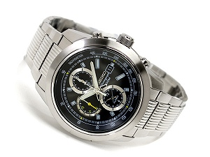 Seiko alarm chronograph men's watch black dial silver stainless steel belt SNAB17P1