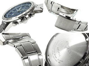 Seiko alarm Chronograph Watch Navy dial stainless steel belt SNAC47P1