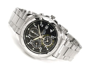Seiko high-speed chronograph men's watch grey black dial stainless steel belt SND195P1