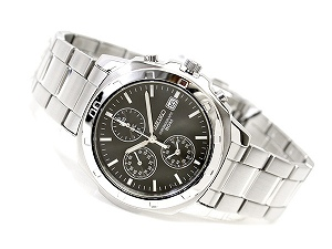 Overseas Seiko men's Chronograph Watch understated black dial Silver Needle SNDB35P1