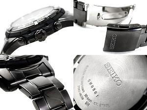 海外精工标准模型男装计时手表黑色表盘 IP 黑色不锈钢带 SNDB49P1