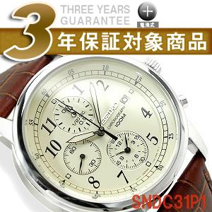 【逆輸入SEIKO】セイコー メンズ 高速クロノグラフ 腕時計 クリームダイアル ブラウンレザーベルト SNDC31P1【あす楽】