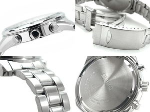 SEIKO men 1/20 second chronograph watch silver dial stainless steel belt SNDC41P1