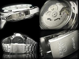 セイコーファイブ men's automatic self-winding watch White Dial point light bar index silver stainless steel belt SNK559J1