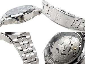 Seiko 5 men's automatic self-winding watch Navy dial-silver stainless steel belt SNK563J1