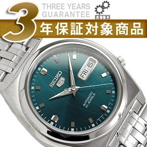 精工5男子的自动卷手表有金属特性的绿色的拨盘银子不锈钢皮带SNK665K1
