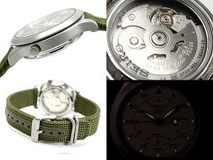 Seiko 5 mens military automatic winding watch khaki green mesh-belt SNK805K2