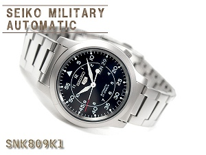 精工 5 男装军事自动手表黑色不锈钢带 SNK809K1
