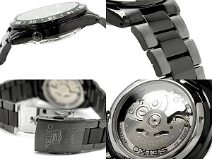 Seiko 5 automatic self-winding men's Watch Black gunmetal Combi belt SNKE03J1