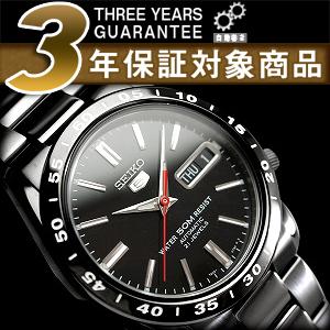 Seiko 5 mens automatic watch black dial black IP black stainless steel belt SNKE03K1
