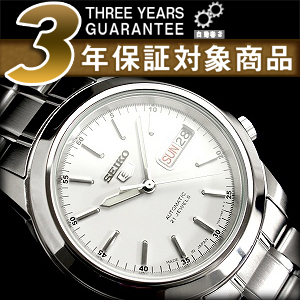Seiko 5 men's automatic self-winding watch White Dial-silver stainless steel belt SNKE49J1