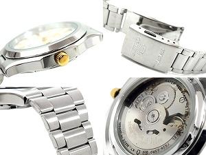 精工5男子的自動卷手錶雙重銀子撥盤黄金索引不銹鋼皮帶SNKK43J1