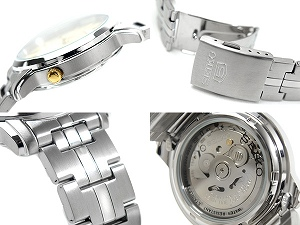 Seiko 5 men's automatic self-winding watch grey / Gold Dial-silver stainless steel belt SNKK67K1