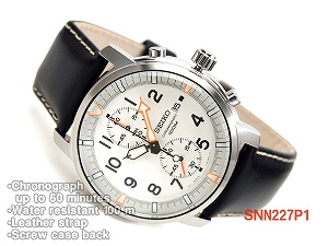 Seiko chronograph mens watch off white dial black leather belt SNN227P1