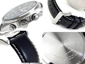 Seiko chronograph men's watch grey black dial with black calf leather belt SNN231P2