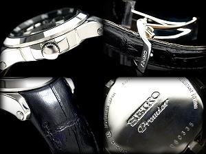 セイコープルミエ キネティックパーペチュアルメンズ watch black dial with black calf leather belt SNP005P1