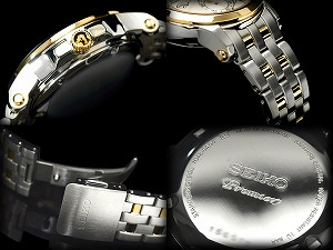 セイコープルミエ kinetic mens Watch Silver Gold duo stainless steel belt SNP042P1
