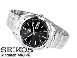 Seiko 5 men's automatic self-winding watch satin black dial stainless steel belt SNX115K