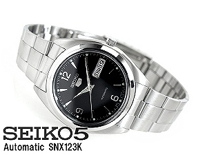Seiko 5 mens automatic watch-black dial-stainless steel belt SNX123K1