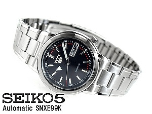 Seiko 5 men's automatic self-winding watch blue black dial stainless steel belt SNXE99K