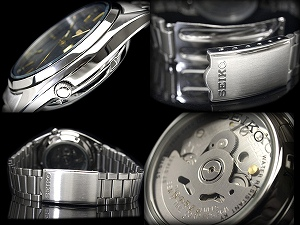 Seiko 5 mens automatic watch ブラックチェッ card dial stainless steel belt SNXG53K1